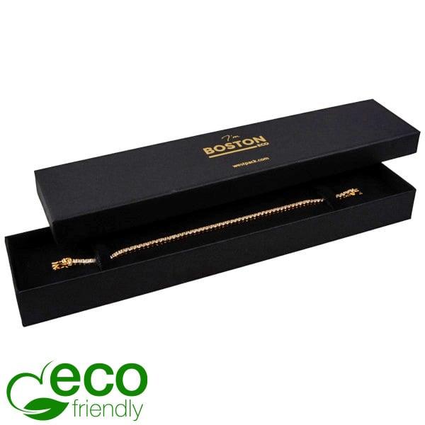 Boston Eco sieradendoosje voor armband Mat zwart karton/ Zwart foam 225 x 50 x 22