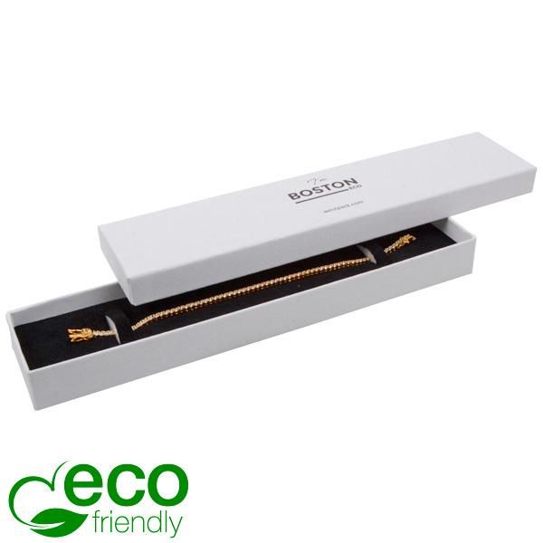 Boston Eco sieradendoosje voor armband Natuur Wit Karton / Wit-zwart foam 225 x 50 x 22
