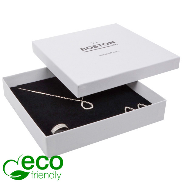 Boston ECO sieradendoosje voor collier / choker Natuur Wit FSC®-gecertificeerd / Wit-zwart foam 167 x 167 x 32
