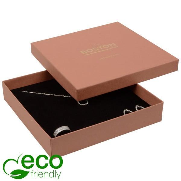 Boston ECO sieradendoosje voor collier / choker Terracotta FSC®-gecertificeerd karton/Zwart foam 167 x 167 x 32