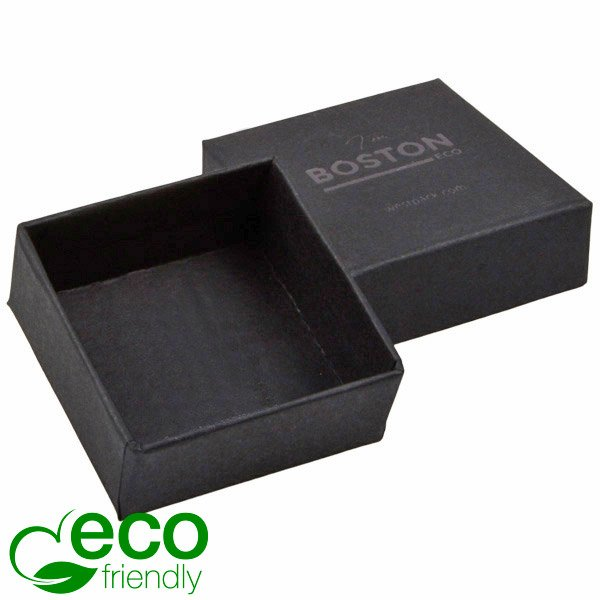 Boston ECO sieradendoosje oorbellen / oorknopjes Mat zwart FSC®-gecertificeerd karton/ Zonder foam 50 x 50 x 22