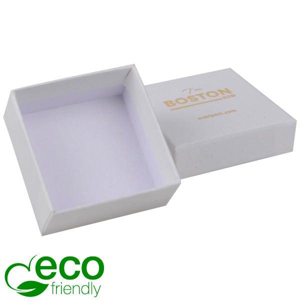 Boston ECO sieradendoosje oorbellen / oorknopjes Natuur Wit FSC®-gecertificeerd / Zonder foam 50 x 50 x 22