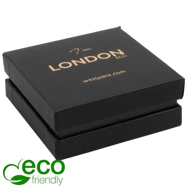 London ECO sieradendoosje voor oorbellen/hanger Zwart soft-touch karton/ Zwarte kraag/ Zwart foam 65 x 65 x 25
