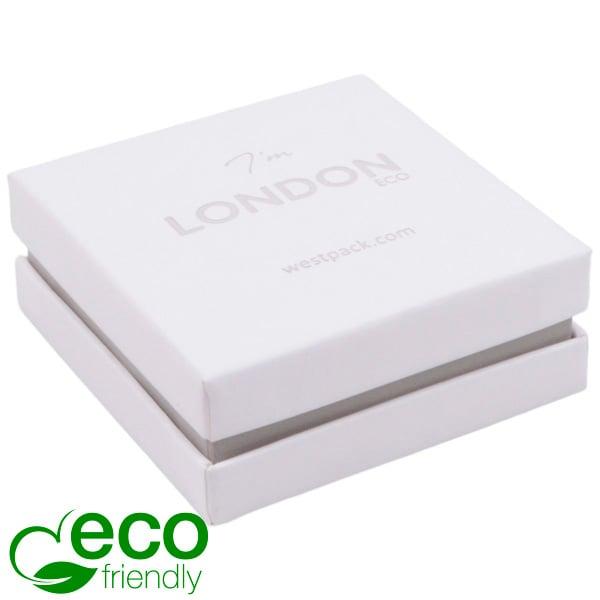 London ECO sieradendoosje voor oorbellen/hanger Wit soft-touch karton/ Grijze kraag/ Wit foam 65 x 65 x 25