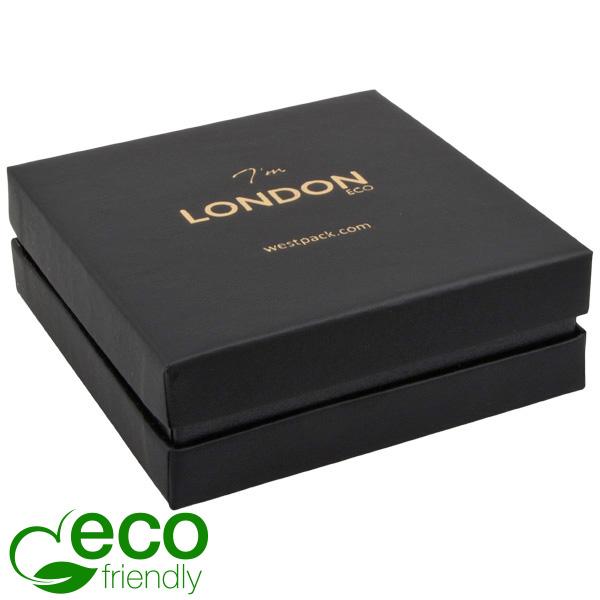 London ECO sieradendoosje armring / hanger Zwart soft-touch karton/ Zwarte kraag/ Zwart foam 86 x 86 x 30