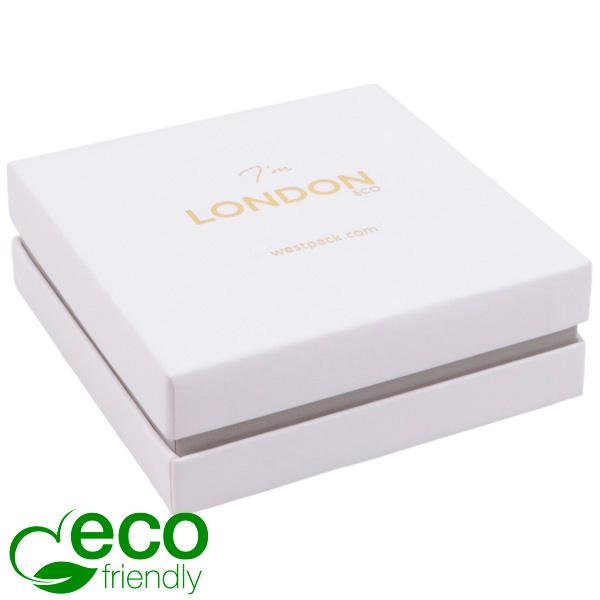 London ECO sieradendoosje armring / hanger Wit soft-touch karton/ Grijze kraag/ Wit foam 86 x 86 x 30