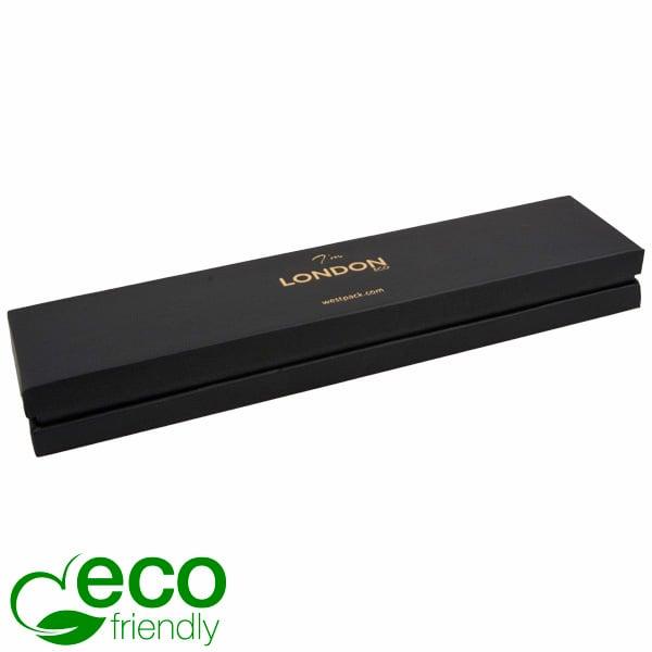 London ECO sieradendoosje voor armband Zwart soft-touch karton/ Zwarte kraag/ Zwart foam 220 x 50 x 25