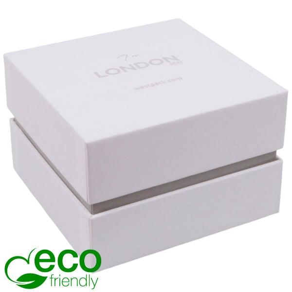 London ECO - Ecrin Montre/Bracelet Blanc aspect gommé/ Bordure grise / Mousse blanche 90 x 90 x 60