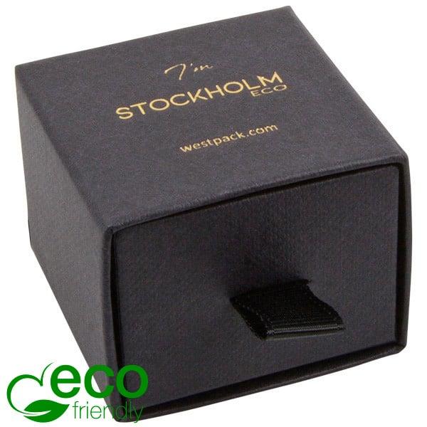 Stockholm ECO sieradendoosje voor ring / oorbellen Zwart karton met stof-look / Zwart foam 50 x 50 x 40