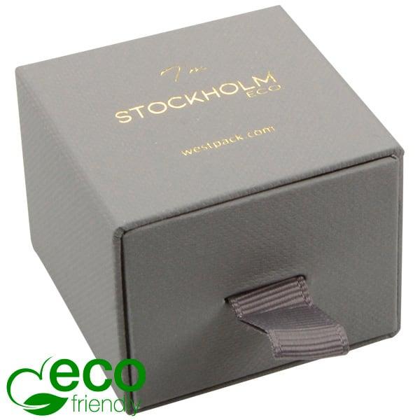 Stockholm ECO sieradendoosje voor ring / oorbellen Grijs karton met stof-look / Zwart foam 50 x 50 x 40