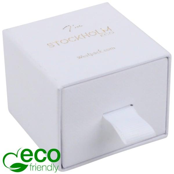 Stockholm ECO sieradendoosje voor ring / oorbellen Wit karton met stof-look / Wit foam 50 x 50 x 40