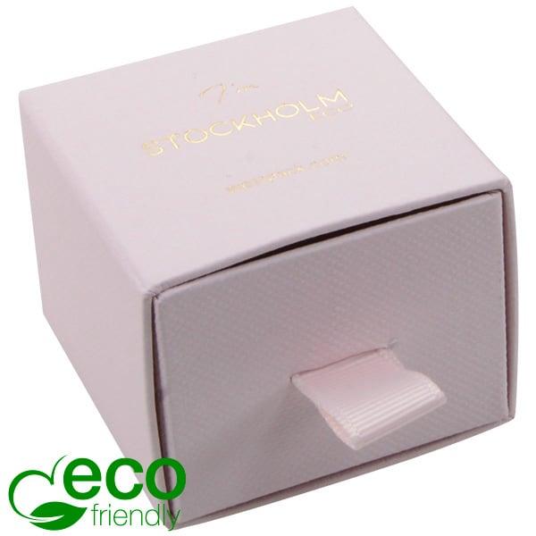 Stockholm ECO sieradendoosje voor ring/oorbellen Lichtroze karton met stof-look / Zwart foam 50 x 50 x 40