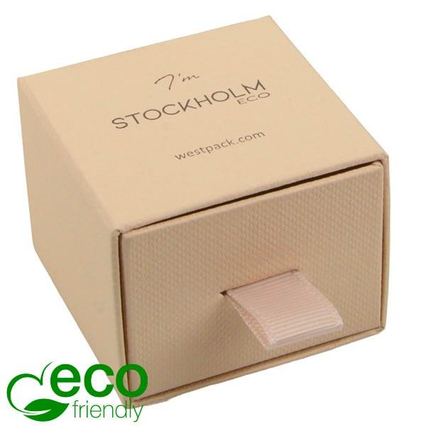 Stockholm ECO sieradendoosje voor ring / oorbellen Warm Beige karton met stof-look / Zwart foam 50 x 50 x 40
