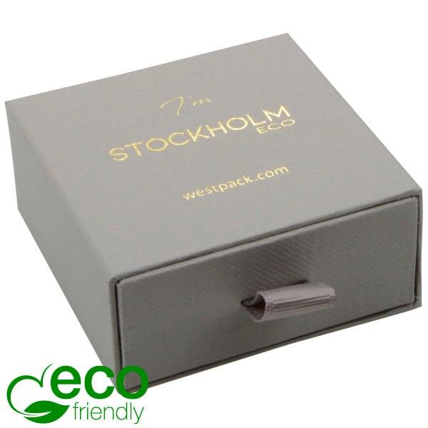 Stockholm ECO sieradendoosje voor oorbellen/hanger Grijs karton met stof-look / Zwart foam 65 x 65 x 30