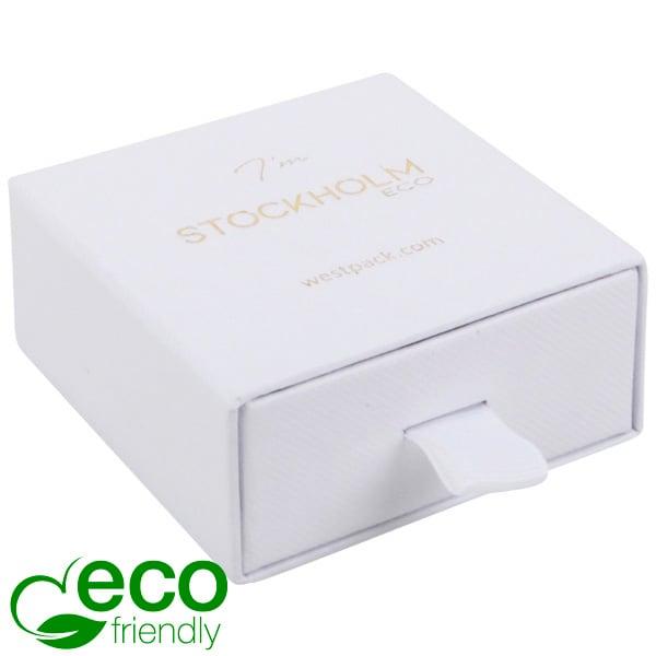 Stockholm ECO sieradendoosje voor oorbellen/hanger Wit karton met stof-look / Wit foam 65 x 65 x 30