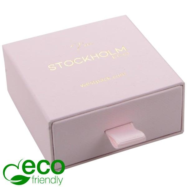 Stockholm ECO sieradendoosje voor oorbellen/hanger Lichtroze karton met stof-look / Zwart foam 65 x 65 x 30