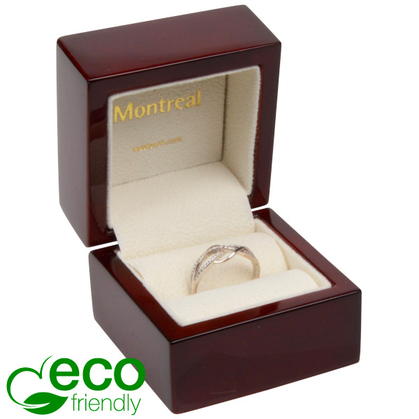 Montreal ECO sieradendoosje voor ring Glanzend mahonie hout/ Creme velours interieur 62 x 62 x 55