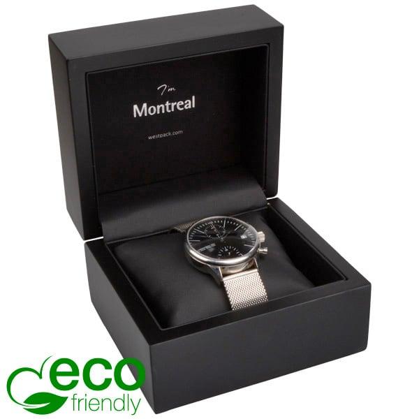 Montreal ECO sieradendoosje voor horloge Mat zwart hout/ Zwart Nabuca interieur 125 x 115 x 87