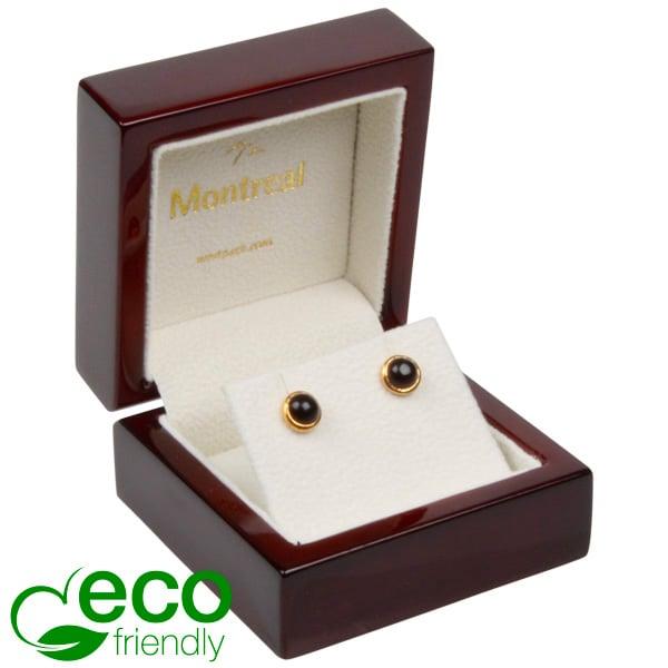 Montreal ECO sieradendoosje voor oorbellen/hanger Glanzend mahonie hout/ Creme velours interieur 65 x 65 x 40