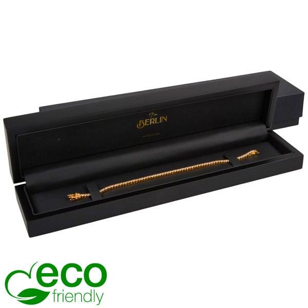 Berlin ECO sieradendoosje voor armband Mat zwart hout / Zwart kunstlederen interieur 250 x 57 x 32