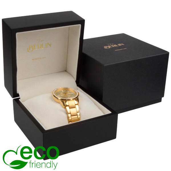 Berlin ECO sieradendoosje voor horloge Mat zwart hout/ Creme velours interieur 110 x 110 x 80