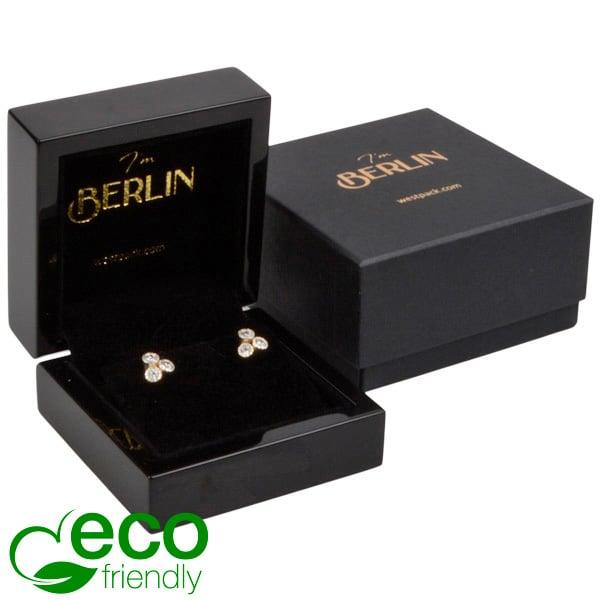 Berlin ECO sieradendoosje voor oorbellen / hanger Glanzend zwart hout/ Zwart velours interieur 70 x 70 x 36