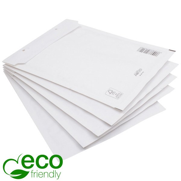 100x Miljövänlig Bubbelkuvert, stora Vita kuvert med bubbelplast 350 x 250 x 4