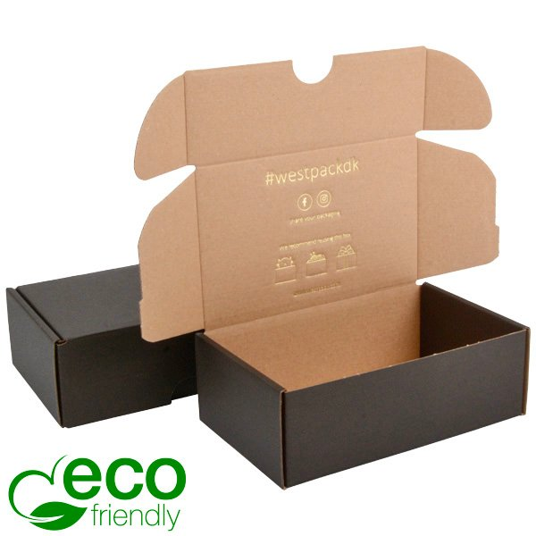 Boîte pliante d'envoi postal ECO, 185x109x62mm Carton noir / marron 185 x 109 x 62