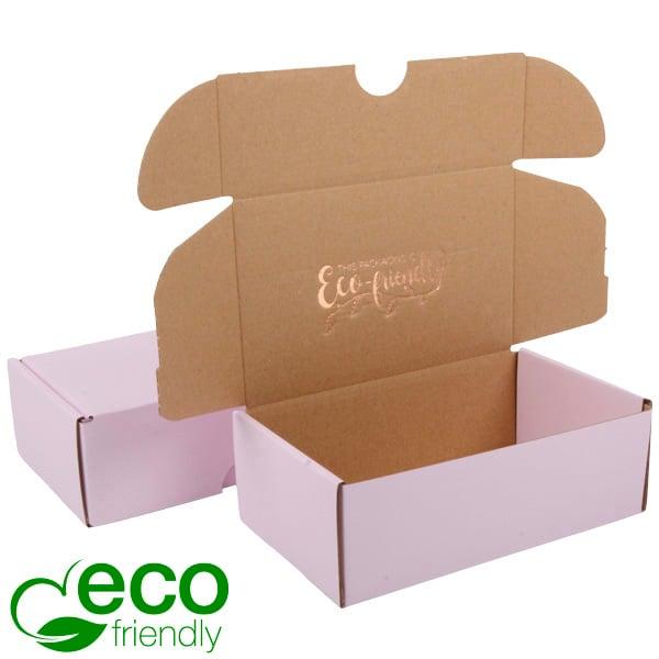 ECO Postdoosje, 185x109x62mm Roze / Naturel karton 185 x 109 x 62
