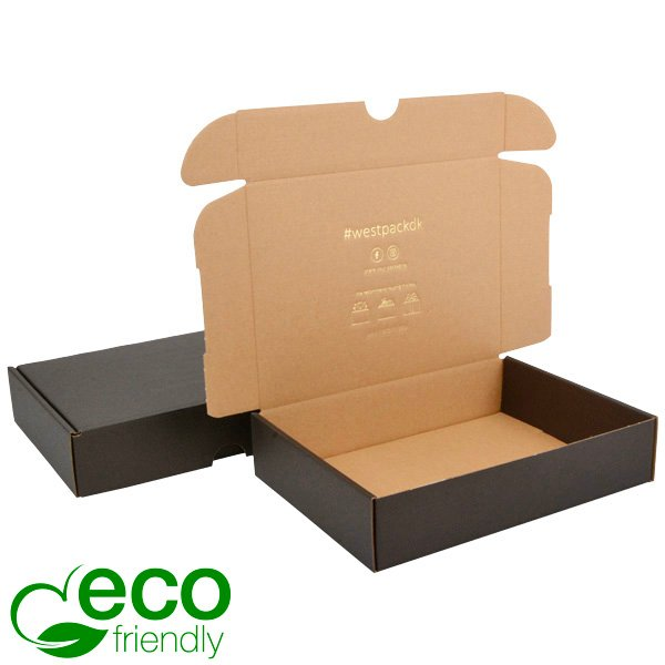 ECO Postal Box, 245x175x52mm Black / Plain Brown Cardboard 245 x 175 x 52