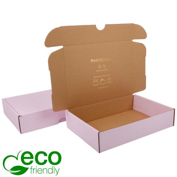Boîte pliante d'envoi postal ECO, 245x175x52mm Carton rose / marron 245 x 175 x 52