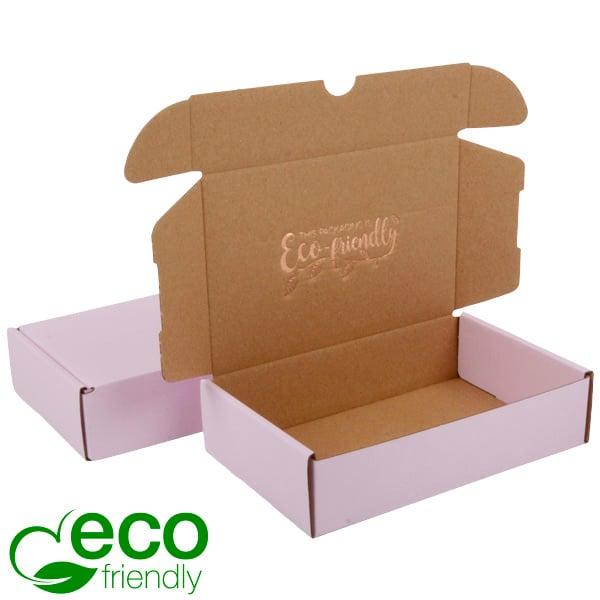 Boîte pliante d'envoi postal ECO, 183x116x44mm Carton rose / marron 183 x 116 x 44