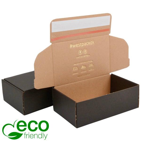 Boîte pliante d'envoi postal ECO, 188x111x64 mm Carton kraft noir avec fermeture à ruban 188 x 111 x 64