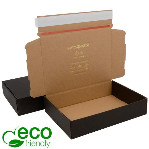 ECO Postdoosje, 245x175x52mm Zwart/naturel karton met tapesluiting 245 x 175 x 52