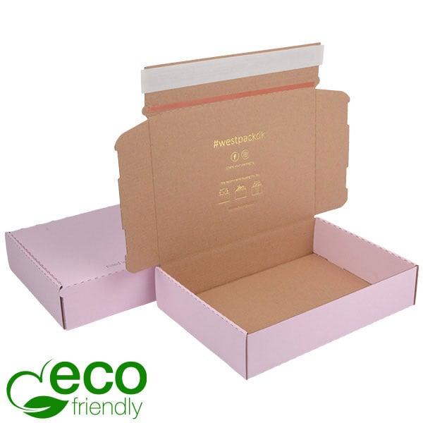 ECO Postdoosje, 245x175x52mm Roze/naturel karton met tapesluiting 245 x 175 x 52