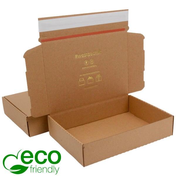 ECO Postdoosje, 245x175x52mm Naturel karton met tapesluiting 245 x 175 x 52