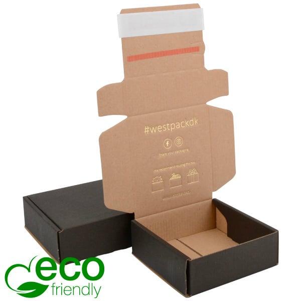 Boîte pliante d'envoi postal ECO, 120x120x45 mm Carton kraft noir avec fermeture à ruban 120 x 120 x 45