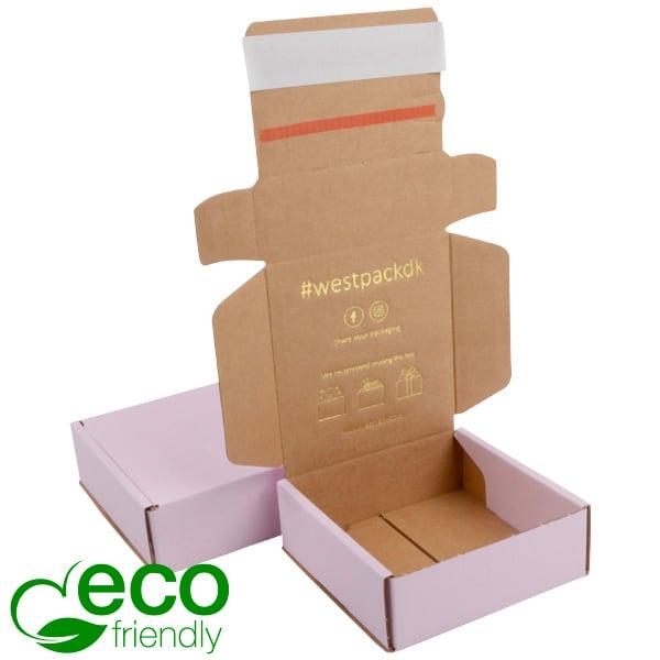 ECO Postdoosje, 120x120x45 mm Roze / Naturel karton met tapesluiting 120 x 120 x 45