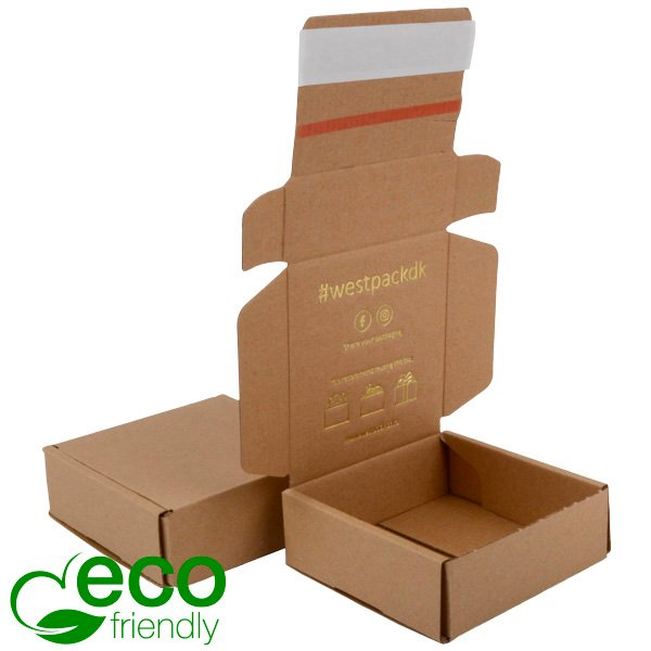 ECO Postdoosje, 120x120x45 mm Naturel karton met tapesluiting 120 x 120 x 45