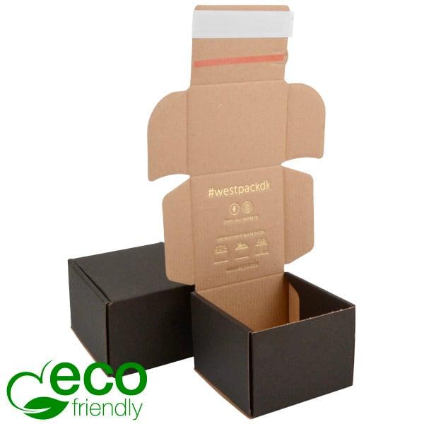 Boîte pliante d'envoi postal ECO, 120x120x90 mm Carton kraft noir avec fermeture à ruban 120 x 120 x 90
