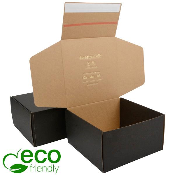 ECO Postdoosje, 200x200x110 mm Zwart / naturel karton met tapesluiting 200 x 200 x 110