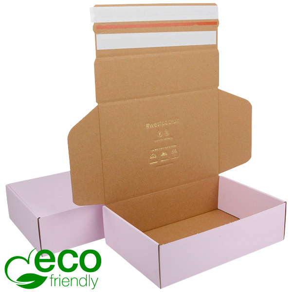 ECO Postdoosje, 270x182x75 mm Roze / Naturel karton met 2 x tapesluiting 270 x 182 x 75