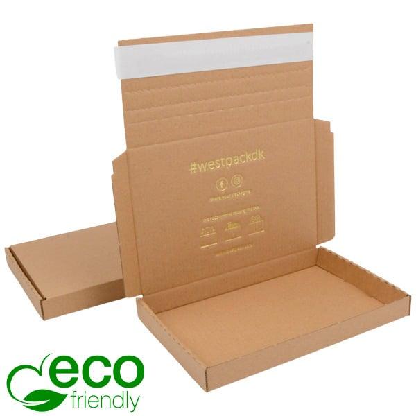 Boîte pliante d'envoi postal ECO, 195x130x22 mm Carton kraft marron avec fermeture à ruban 195 x 130 x 22