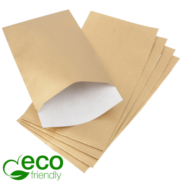 500 ECO papieren sieradenzakjes, klein Mat goud kraftpapier, met nerf 90 x 150 80 gsm