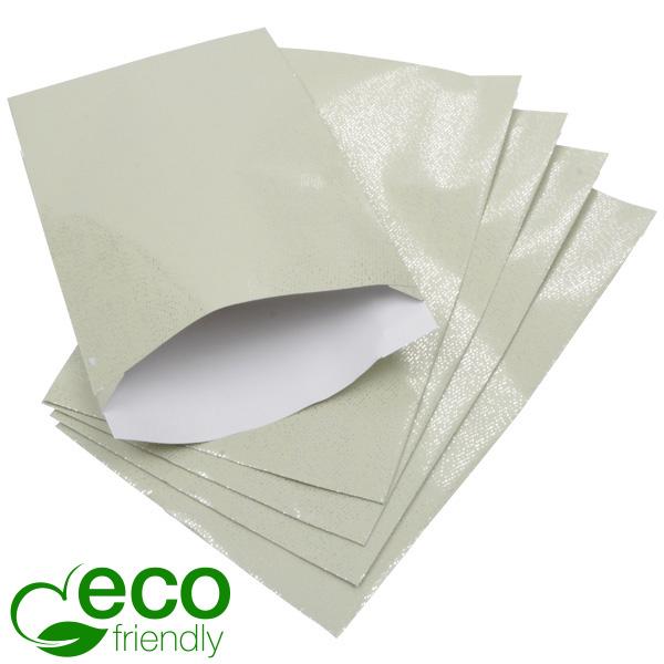 500 ECO papieren sieradenzakjes, groot Pistachekleurig met kleine zilveren stipjes 120 x 180 76 gsm