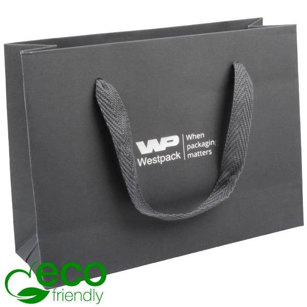 ECO Luxe papieren draagtasje, stevig karton, klein Grijs kraftpapier/ Grijs stoffen handvat 200 x 150 x 70 250 gsm