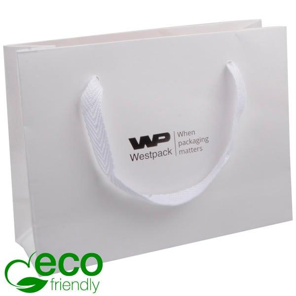 ECO Luxe papieren draagtasje, stevig karton, klein Wit kraftpapier/ Wit stoffen handvat 200 x 150 x 70 250 gsm