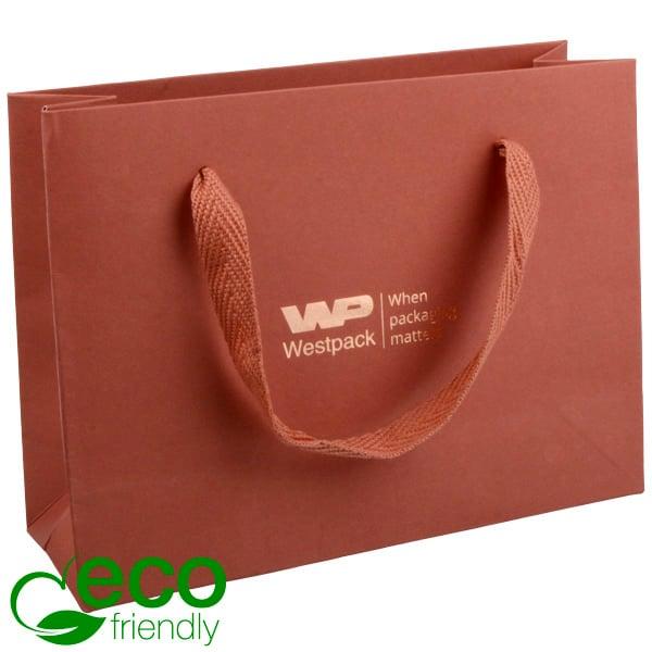 ECO Sac papier de luxe en carton robuste, petit Papier kraft Terre cuita 200 x 150 x 70 250 gsm