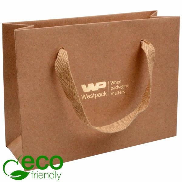 ECO Sac papier de luxe en carton robuste, petit Papier kraft naturel/ Poignée en tissu naturel 200 x 150 x 70 250 gsm