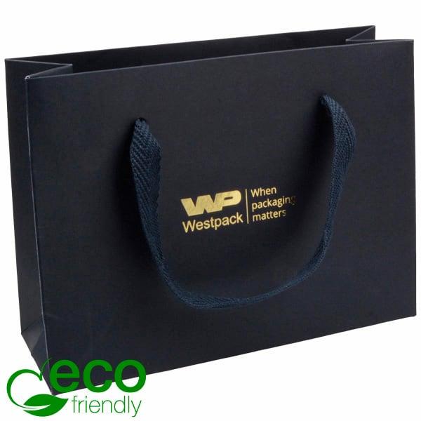 ECO Luxe papieren draagtasje, stevig karton, klein Donkerblauw kraftpapier met stoffen handvat 200 x 150 x 70 250 gsm